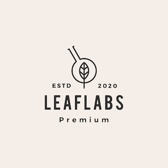 Leaf lab labs hipster vintage logo  icon illustration