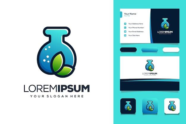 Leaf and lab logo design business card templat
