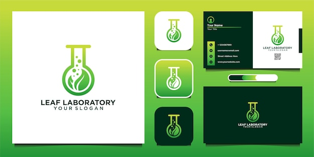 Leaf laboratory logo design template and business card