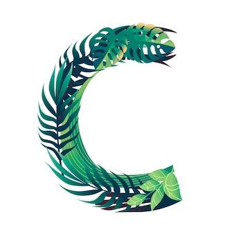 さまざまな種類の緑の葉と白い背景で隔離の葉フラットベクトルイラストと葉文字c。