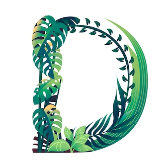 Leaf letter d with diffirent types of green leaves and foliage flat vector illustration isolated on white background.