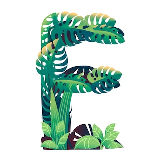 Leaf letter e with diffirent types of green leaves and foliage flat vector illustration isolated on white background.