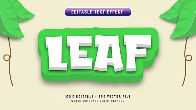 Листовое письмо редактируемый текстовый эффект с 3d мультяшным стилем с шаблоном векторной иллюстрации орнамента из листьев