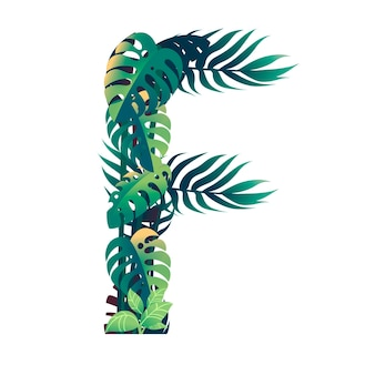 Leaf letter f with diffirent types of green leaves and foliage flat vector illustration isolated on white background.