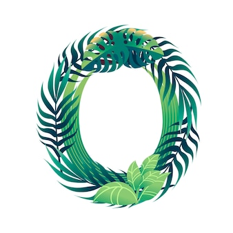 Leaf letter o with diffirent types of green leaves and foliage flat vector illustration isolated on white background.