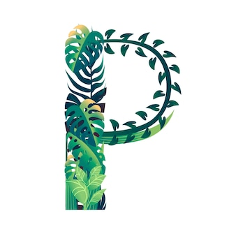 Leaf letter p with diffirent types of green leaves and foliage flat vector illustration isolated on white background.