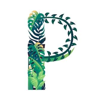 さまざまな種類の緑の葉と白い背景で隔離の葉フラットベクトルイラストと葉文字p。