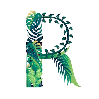Leaf letter r with diffirent types of green leaves and foliage flat vector illustration isolated on white background.