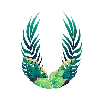 Leaf letter u with diffirent types of green leaves and foliage flat vector illustration isolated on white background.