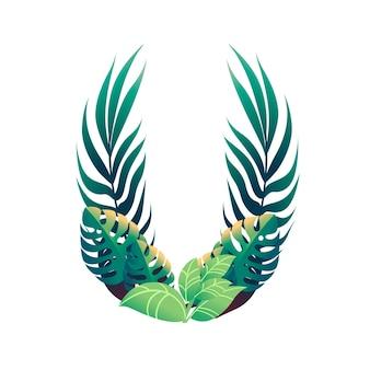 さまざまな種類の緑の葉と白い背景で隔離の葉フラットベクトルイラストと葉文字u。