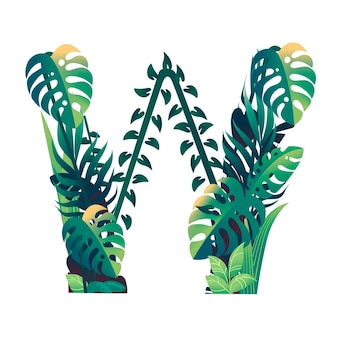 Leaf letter w with diffirent types of green leaves and foliage flat vector illustration isolated on white background.
