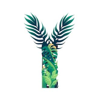 さまざまな種類の緑の葉と白い背景で隔離の葉フラットベクトルイラストと葉文字y。