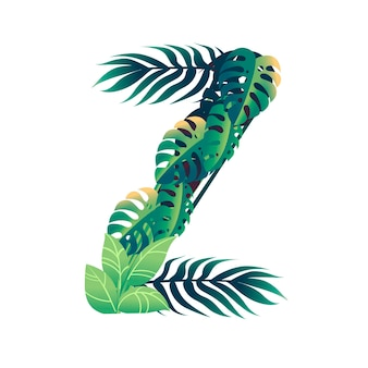 Leaf letter z with diffirent types of green leaves and foliage flat vector illustration isolated on white background.