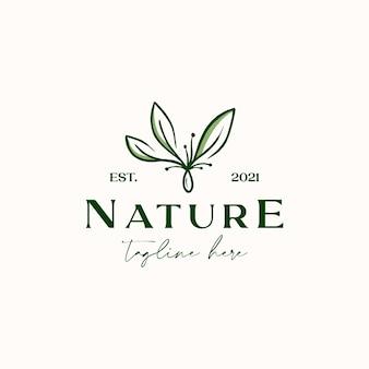 Шаблон логотипа leaf lineart monoline