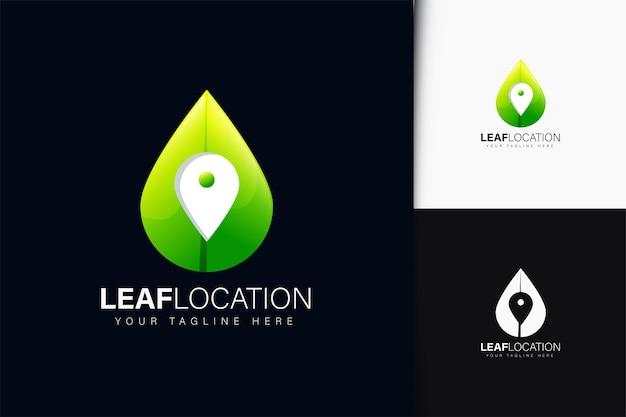 그라데이션이 있는 잎 위치 로고 디자인