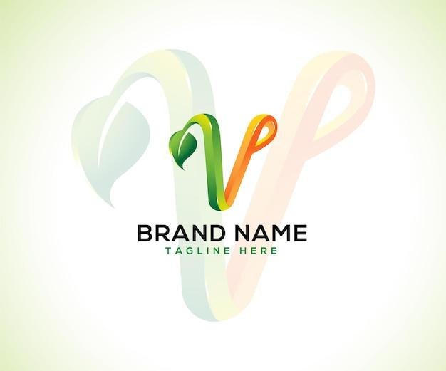 Лист логотип 3d буква v