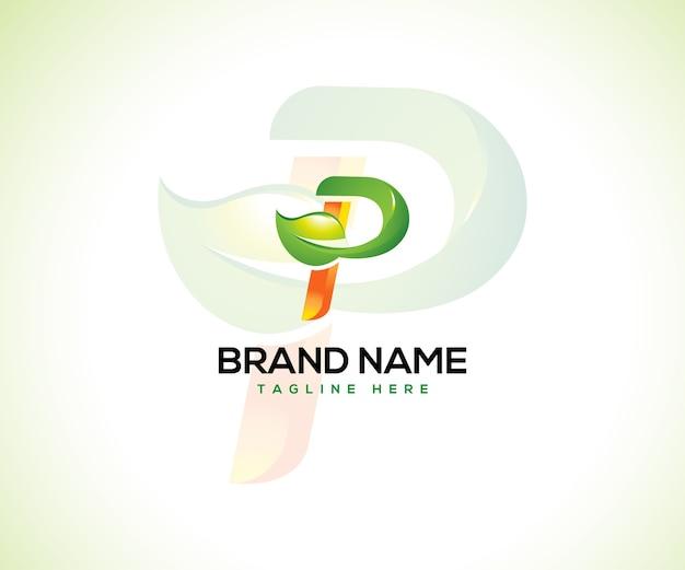 Логотип листа и буквица p логотип концепцию