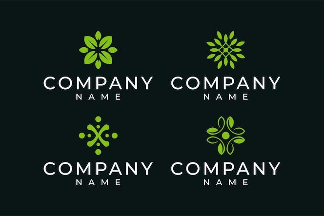 Fascio di design logo foglia in colore verde
