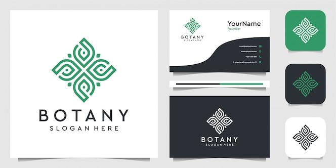Design del logo foglia in stile art line. vestito per spa, fiori, decorazioni, piante, verde, botanica, pubblicità, marchio e biglietto da visita