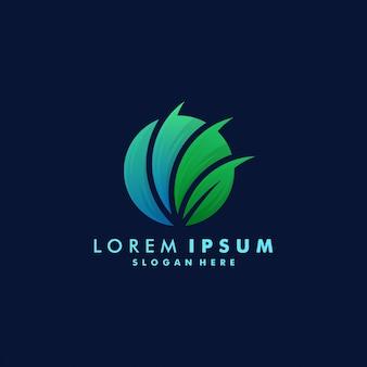 Шаблон дизайна логотипа листа, иллюстрация логотипа значка круга eco