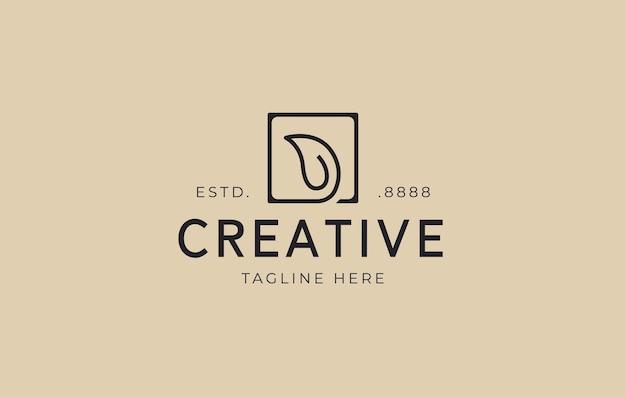 Leaf logo design template vector illustration of natural leaves inside a square