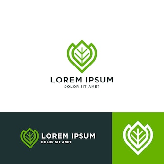 Leaf logo design template