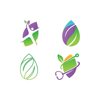 Leaf logo design vector template set