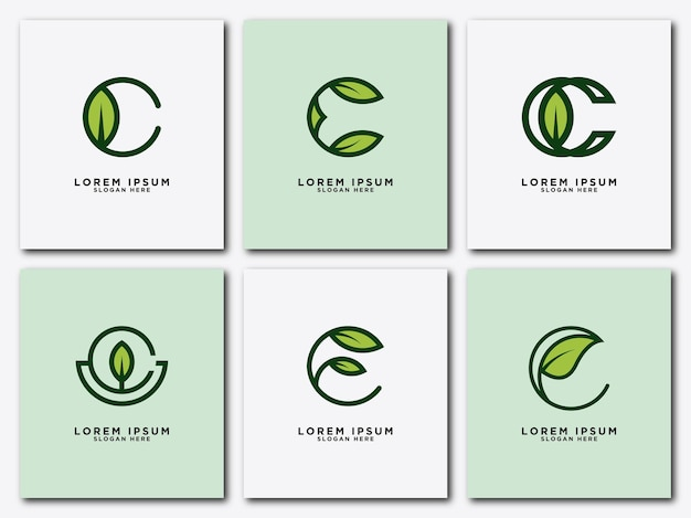 잎 로고 초기 편지 디자인 세트 c 벡터