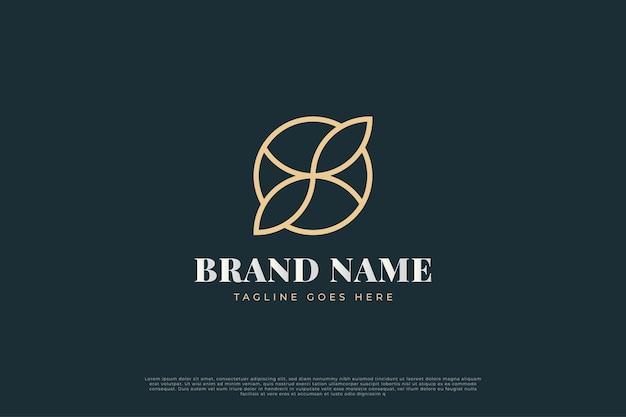 비즈니스 정체성에 대한 선 스타일과 추상적 인 개념의 원 안에 리프 로고