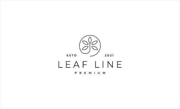 Лист логотип линии минимальный векторный дизайн иллюстрация