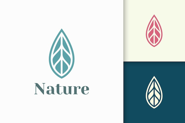 Leaf logo in simple and clean shape for health and beauty