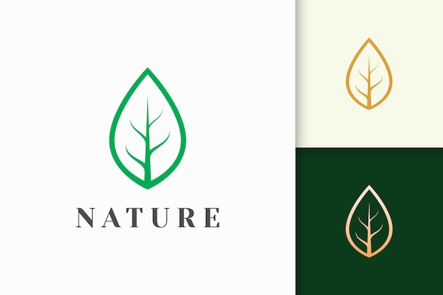 Leaf logo in simple line shape for beauty and health brand