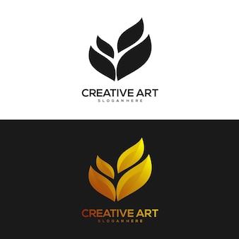 Лист логотип винтажный естественный дизайн