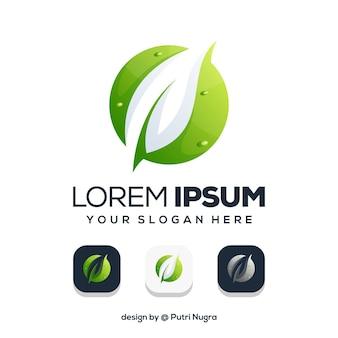 Лист логотип с дизайном логотипа круг, изолированные на белом