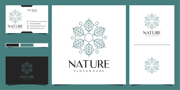 Leaf logo with circle outline style and business card