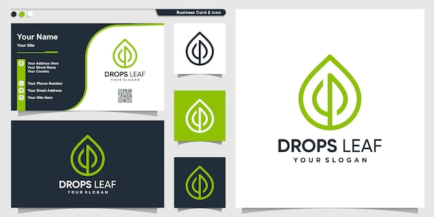Leaf logo with drop line art style and business card design template premium vector
