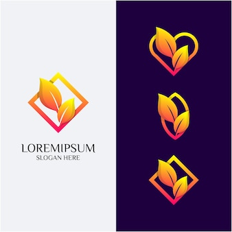 Leaf love wedding logo template