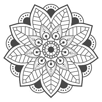 흰색 바탕에 동그라미에 잎 만다라
