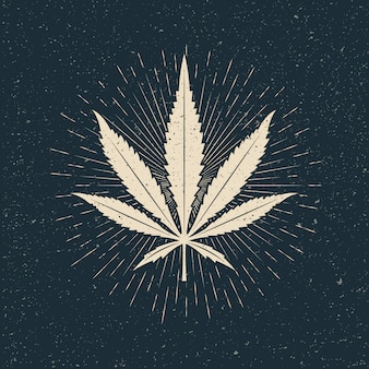 Leaf of marijuana light silhouette on dark background. vintage styled  illustration