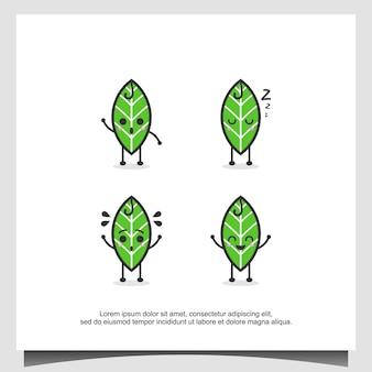 葉のマスコットキャラクターのロゴデザインテンプレート