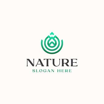 Шаблон логотипа концепции leaf monogram