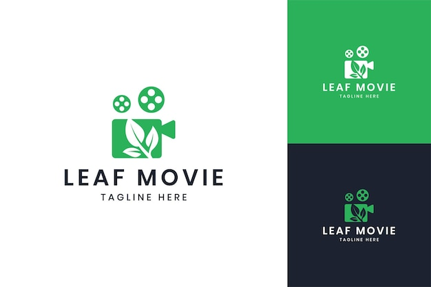 Leaf movie negative space logo design