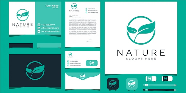 Логотип leaf nature с помощью бланка