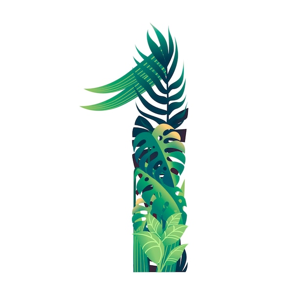 Leaf number 1 with different types of green leaves and foliage cartoon style design flat vector illustration isolated on white background.