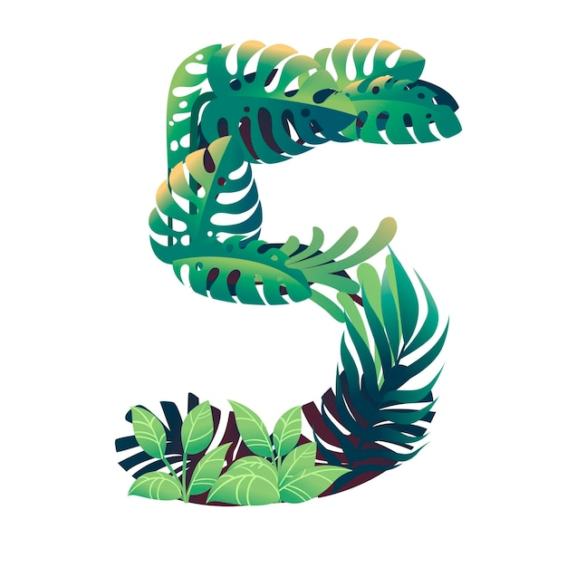 Leaf number 5 with different types of green leaves and foliage cartoon style design flat vector illustration isolated on white background.