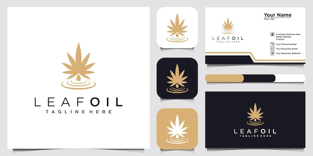 Leaf oil logo design inspiration for company and business card