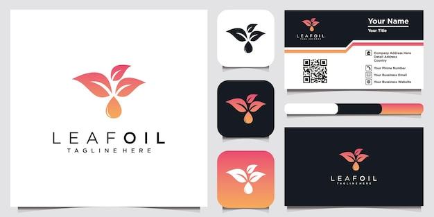 会社と名刺のための葉の油のロゴデザインのインスピレーション