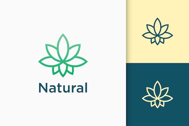 심플하고 모던한 형태의 잎 또는 대마초 화보 로고