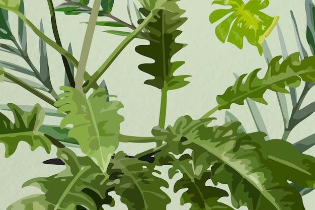 Leaf pattern background tropical vector art, nature design