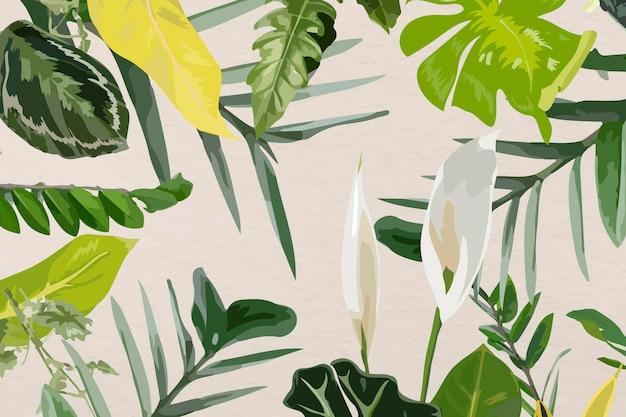 葉のパターンの背景熱帯ベクトルアート、自然デザイン